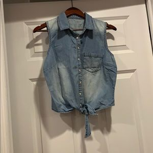 Sleeveless denim button up with tie in the front